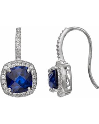 Sterling Silver Lab-Created Blue and White Sapphire Halo Drop Earrings, Women's