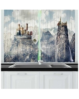 New Deal On 2 Piece Landscape Fantasy Land Of Medieval Castles On High Winter Mountain Cliffs Print Kitchen Curtain Set East Urban Home
