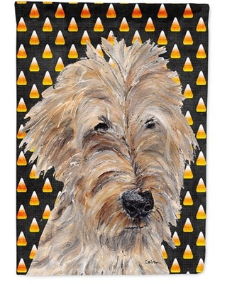 Goldendoodle Halloween Candy Corn Flag Canvas House Size