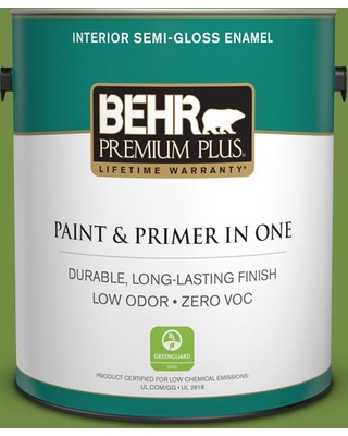 BEHR Premium Plus 1 gal. #420D-6 Thyme Green Semi-Gloss Enamel Low Odor Interior Paint and Primer in One