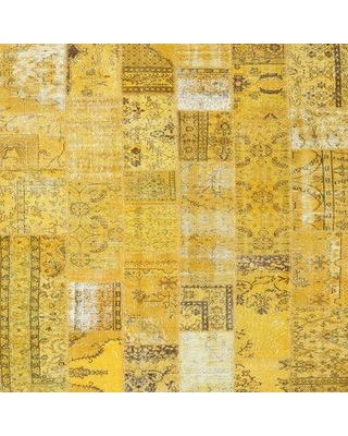 East Urban Home Contemporary Yellow Area Rug W001709273 Rug Size: Round 3'