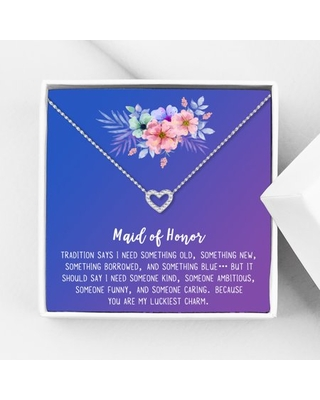 Anavia Maid of Honor Necklace Gift, Maid of Honor Sister Gift, Maid Of Honor Card for Girls, Wedding Gifts Jewelry Necklace-[Silver Mini Crystal Heart, Blue-Purple Gift Card]