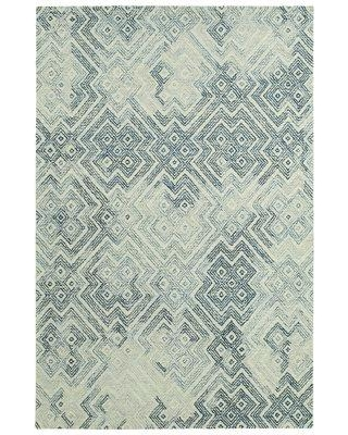Wrought Studio Stockman Hand-Tufted Wool Ivory/Denim Area Rug BF089645 Rug Size: Rectangle 8' x 10'