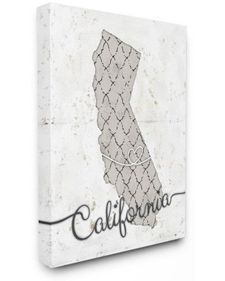 Stupell Industries California Patterned Grey US State Design Canvas Wall Art by Ziwei Li