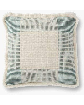 """Loloi P0917 Pillow, 18"""" x 18"""" Cover w/Down, Natural/Green"""