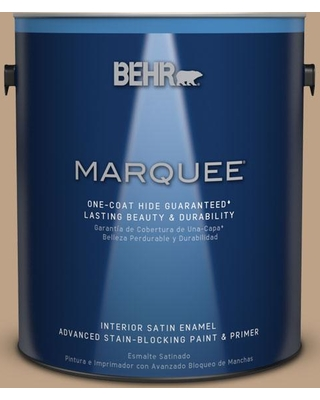 BEHR MARQUEE 1 gal. #PPU4-05 Basketry One-Coat Hide Satin Enamel Interior Paint and Primer in One