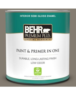 BEHR PREMIUM PLUS 1 qt. #PPF-53 Winding Path Semi-Gloss Enamel Low Odor Interior Paint and Primer in One