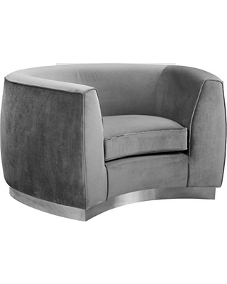 """Meridian Furniture Julian Collection Modern   Contemporary Velvet Upholstered Chair with Stainless Steel Base in a Polished Chrome Finish, Grey, 49"""" W x 34"""" D x 28"""" H"""