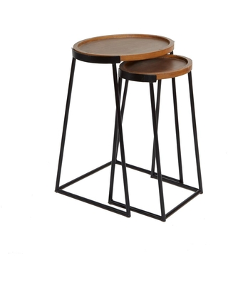 Silverwood Furniture Reimagined Helena Black Metal and Wood Nesting Accent Tables, Black metal and Dark Wood