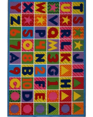 LA Rug Fun Time Numbers and Letters Multi Colored 3 ft. x 5 ft. Area Rug