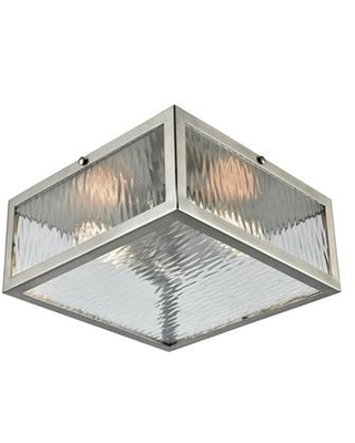 31786/2 Placid 2-Light Flush Mount in Satin Nickel with Clear Ripple