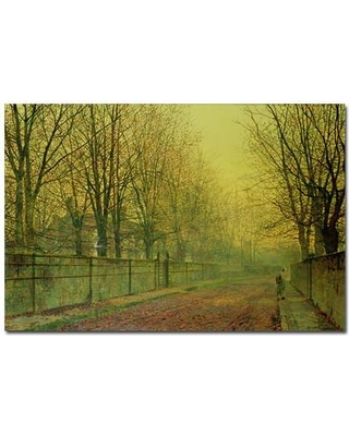 """Trademark Art """"In the Golden Glow of Autumn"""" by John Atkinson Grimshaw Painting Print on Wrapped Canvas BL0217-C1624GG / BL0217-C2232GG Size: 16"""" H x 24"""" W x 2"""" D"""