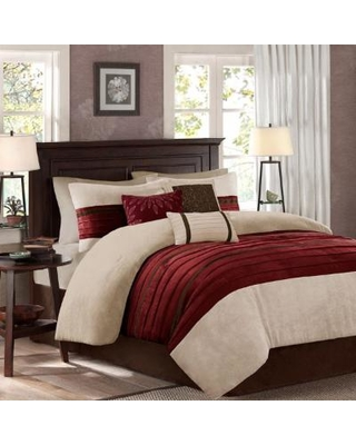 Madison Park Palmer King 7 Piece Comforter Set in Red - Olliix MP10-2267