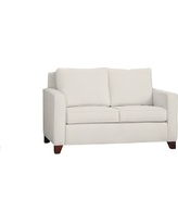 "Cameron Square Arm Upholstered Loveseat 60"", Polyester Wrapped Cushions, Denim Warm White"