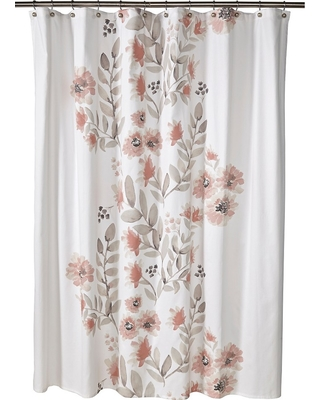 Blooms Flat Weave Shower Curtain Coral