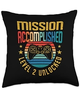 BCC Vintage Gamer Birthday Party Shirts & Gifts Mission Accomplished Level 2 Unlocked 2nd Birthday Gamer Throw Pillow, 18x18, Multicolor