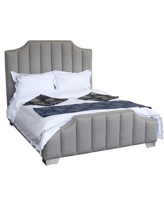 Camelot Collection LCCTBEBR Contemporary Queen Bed with Polished Stainless Steel and Gray