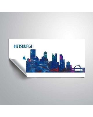 "East Urban Home 'Pittsburgh Skyline Scissor Foreground' Graphic Art Print on Wrapped Canvas BF044375 Size: 24"" H x 48"" W Format: Paper"