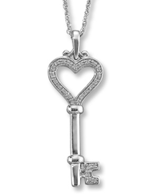 Jared Diamond Key Necklace 1/15 ct tw Round-Cut Sterling Silver