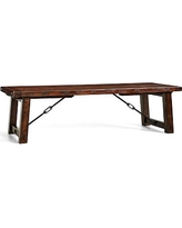 "Benchwright Extending Rectangular Dining Table, 108 x 42"", Rustic Mahogany stain"