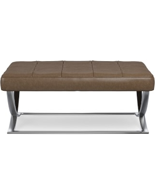 James Square Ottoman, Polished Nickel, Italian Distressed Leather, Toffee