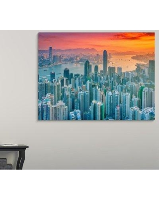 """Ebern Designs 'Hong Kong from the Hill' Photographic Print on Canvas W000232864 Size: 45"""" H x 60"""" W x 1.5"""" D"""