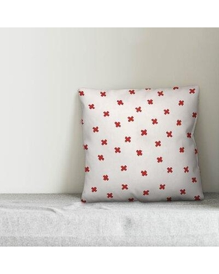 """Union Rustic Lurenda Ink Cross Throw Pillow W001881084 Color: White/Red Size: 16"""" x 16"""""""