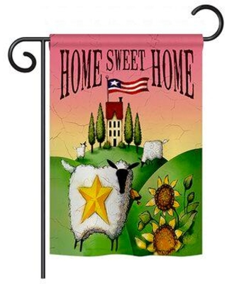 """Breeze Decor Welcome Sheep Home Sweet Inspirational Impressions Decorative Vertical 13"""" x 18.5"""" Double Sided Garden Flag Set BD-SH-GS-100061-IP-BO-D-US16-AL"""