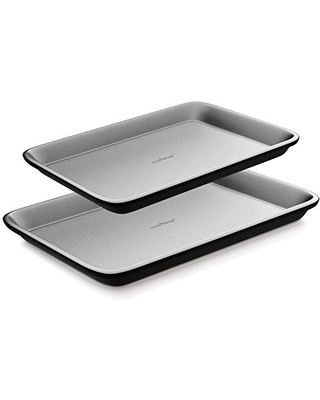NutriChef Non-Stick Cookie Sheet Baking Pans - 2-Pc. Professional Quality Kitchen Cooking Non-Stick Bake Trays, Gray, One size (NC2TRGY.5)