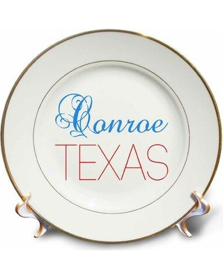 East Urban Home Conroe Texas Text. Patriotic Home Town Design Porcelain Decorative Plate W000877517
