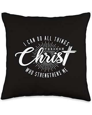 I Can Do All Things Through Chris Throw Pillow, 16x16, Multicolor