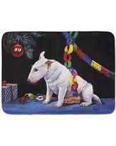 The Holiday Aisle Bull Terrier Under the Christmas Tree Memory Foam Bath Rug THLA4163