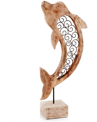HomeRoots Rosemary Irregular Wood Iron Scroll, Wood - Dolphin on Stand Sculpture, Natural & Black