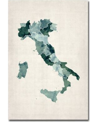 "Trademark Fine Art 'Italy Watercolor Map' by Michael Tompsett Graphic Art on Canvas MT0048-C Size: 32"" H x 22"" W x 2"" D"