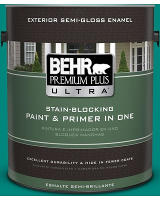 BEHR ULTRA 1 gal. #P450-7 Mystic Turquoise Semi-Gloss Enamel Exterior Paint and Primer in One