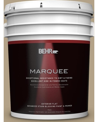 BEHR MARQUEE 5 gal. #PPU8-07 Chamois Tan Flat Exterior Paint and Primer in One