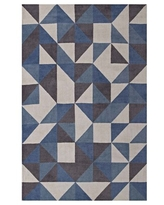 Modway Kahula Geometric Triangle Mosaic 5x8 Area Rug in Blue, White and Gray