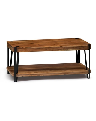 Alaterre Furniture Ryegate 48 in. Natural Large Rectangle Wood Coffee Table with Shelf