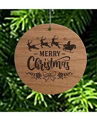 Merry Christmas Round Wood Christmas Ornament