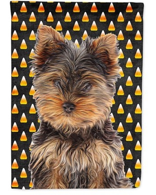 Candy Corn Halloween Yorkie Puppy / Yorkshire Terrier Flag Canvas House Size