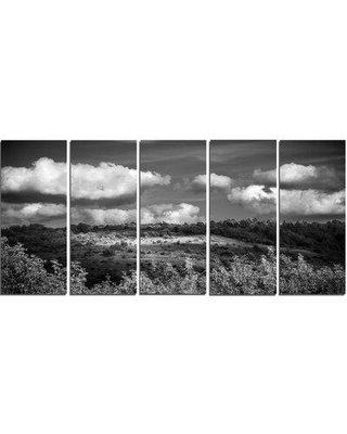 Design Art Green Hills under Cloudy Sky 5 Piece Photographic Print on Wrapped Canvas Set PT10930-401