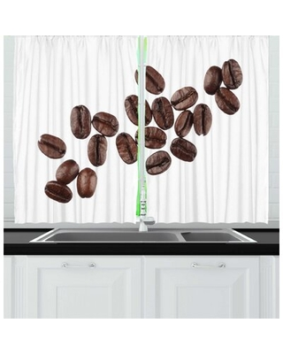 2 Piece Coffee Real Life Photo of Several Beans Close Up Shot on a Plain Background Kitchen Curtain Set East Urban Home