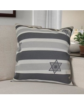 """The Holiday Aisle Hanukkah 2016 Decorative Holiday Striped Outdoor Throw Pillow HLDY6580 Size: 18"""" H x 18"""" W x 2"""" D, Color: Gray"""