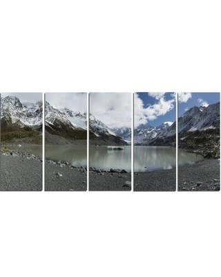 Design Art 'New Zealand Mountains Panorama' 5 Piece Photographic Print on Wrapped Canvas Set PT14068-401