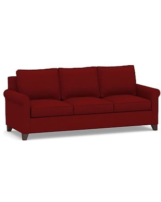 Cameron Roll Arm Upholstered Side Sleeper Sofa, Polyester Wrapped Cushions, Twill Sierra Red