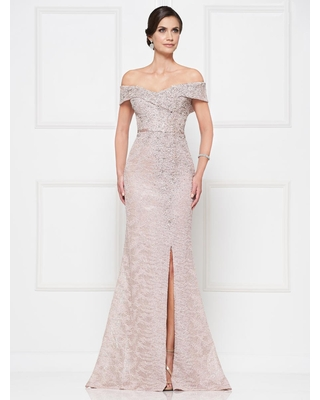 Rina Di Montella - RD2655 Lace Off-Shoulder Trumpet Dress With Slit