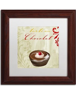 "Trademark Art 'Tartes Francais Chocolat' by Color Bakery Framed Graphic Art ALI4321-W1 Size: 11"" H x 11"" W x 0.5"" D Mat Color: White"