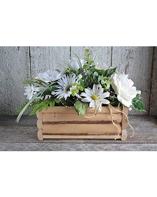 ''HANDMADE'' wooden centerpiece harmoniously garnished WITH FLOWERS and pearl, Wedding decor table country flowers and pearls, Reception Decor