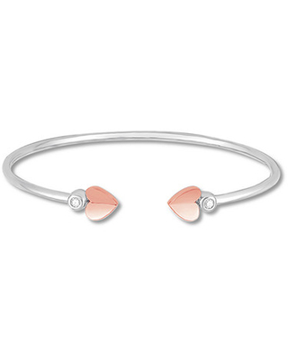 Diamond Heart Bangle 1/10 ct tw Sterling Silver/10K Rose Gold