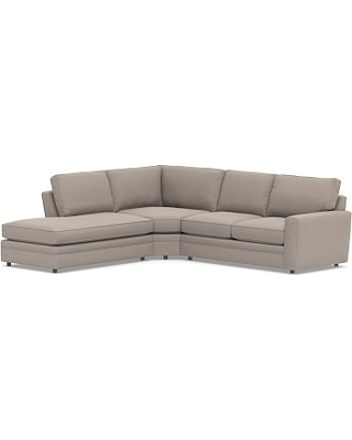 Pearce Square Arm Upholstered Right 3-Piece Bumper Wedge Sectional, Down Blend Wrapped Cushions, Performance Everydayvelvet(TM) Carbon